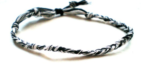 black and white braided thread bracelet