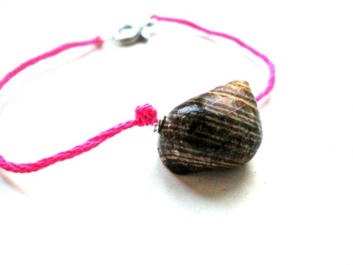 neon pink and seashell bracelet