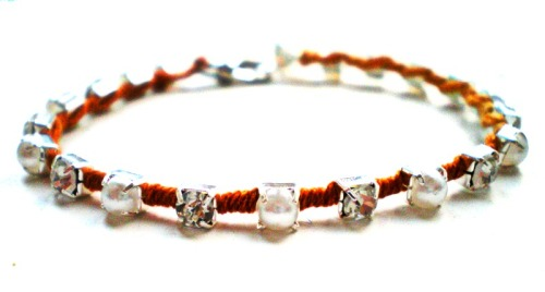rhinestone and ombre thread bracelet